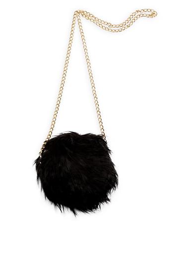Round Long Faux Fur Crossbody Bag,BLACK,large
