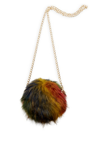 Round Long Faux Fur Crossbody Bag,MULTI COLOR,large