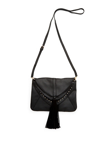 Crossbody Bag with Layered Flaps,BLACK,large