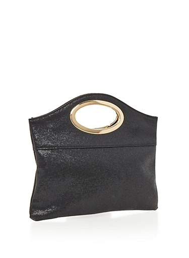 Textured Faux Leather Metal Handle Clutch,BLACK/GOLD,large