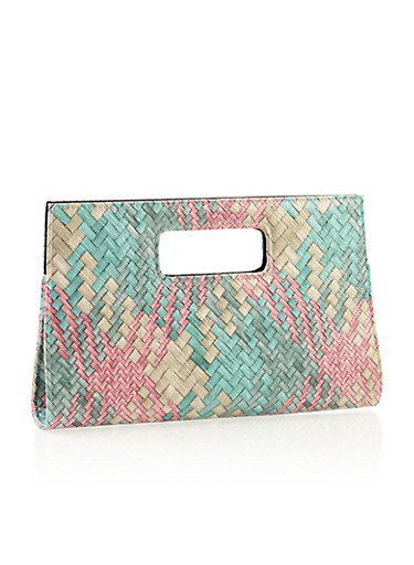 Multicolored Woven Clutch with Cutout Handle,MINT/PINK,large