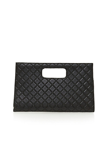 Embossed Faux Leather Clutch with Cutout Handle,BLACK,large