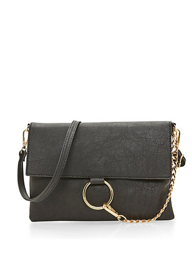 Flap Crossbody Bag with Metal Ring,BLACK,large