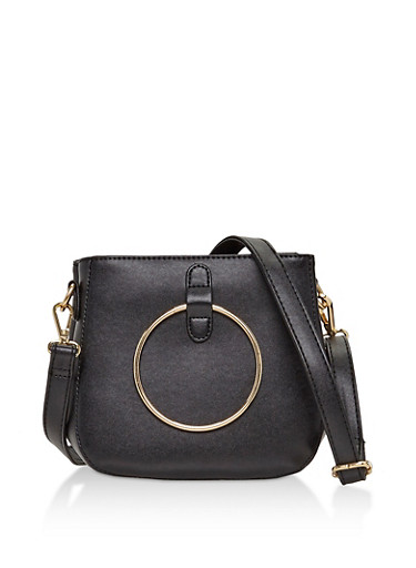 2 Ring Faux Leather Crossbody Bag,BLACK,large