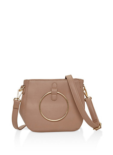 2 Ring Faux Leather Crossbody Bag,TAUPE,large