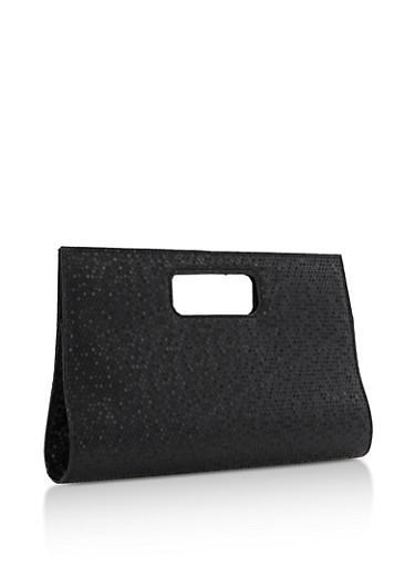 Textured Cutout Handle Clutch,BLACK,large