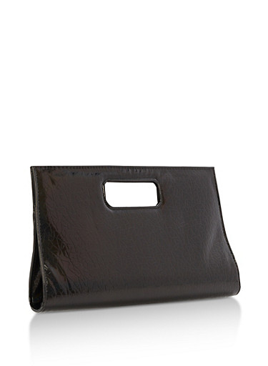 Textured Iridescent Cutout Handle Clutch,BLACK,large