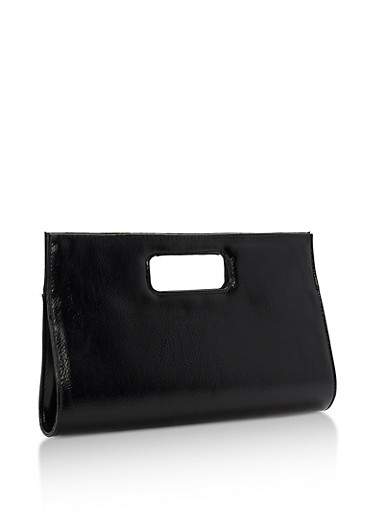 Textured Faux Leather Clutch with Cutout Handles,BLACK,large