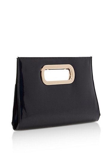 Faux Patent Leather Clutch with Cutout Handles,BLACK,large