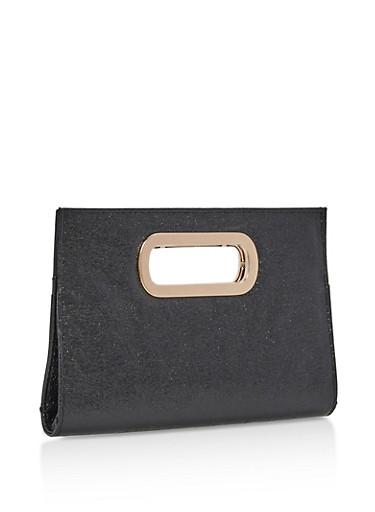 Glitter Metal Handle Clutch,BLACK,large
