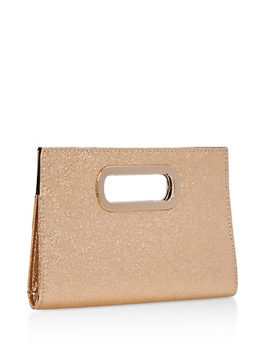 Glitter Metal Handle Clutch,GOLD,large