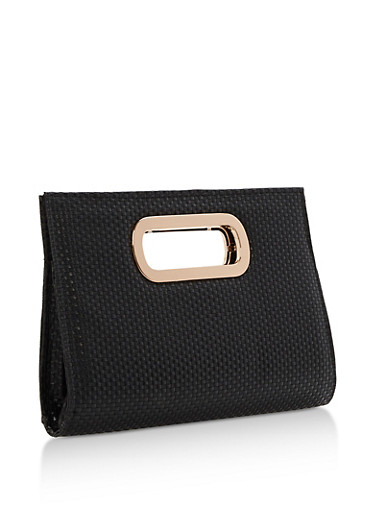 Woven Textured Clutch with Cutout Handles,BLACK,large