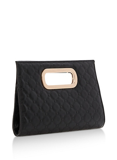 Faux Leather Quilted Clutch with Cutout Handles,BLACK,large