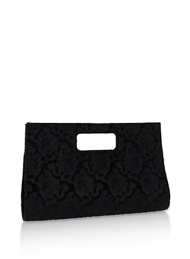 Velvet Flower Print Clutch,BLACK,large