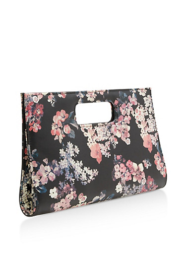 Large Faux Leather Floral Clutch,BLACK,large