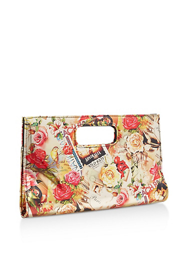 Floral Printed Clutch,GOLD,large
