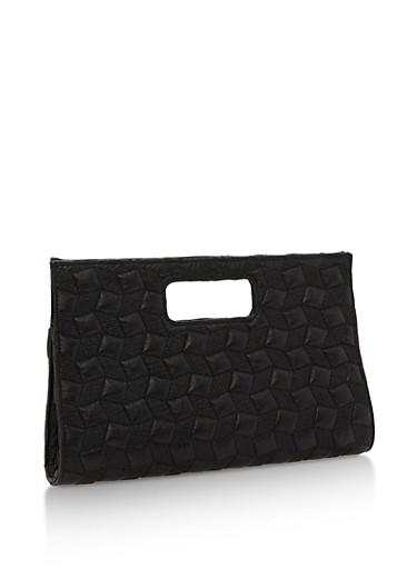 Embossed Faux Leather Clutch,BLACK,large