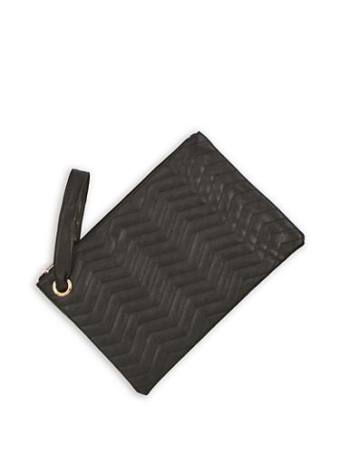 Faux Leather Chevron Clutch with Wrist Strap,BLACK,large