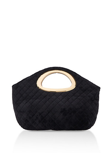 Faux Suede Quilted Metal Handle Clutch,BLACK,large