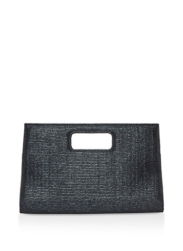Crinkled Clutch with Cut Out Handle,BLACK,large