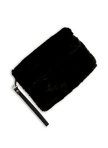 Faux Fur Fold Over Clutch,BLACK,large
