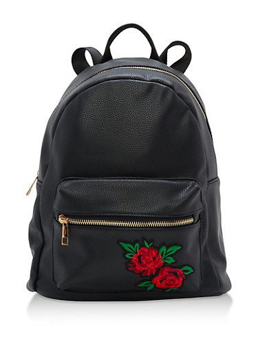 Faux Leather Backpack with Rose Patch,BLACK,large
