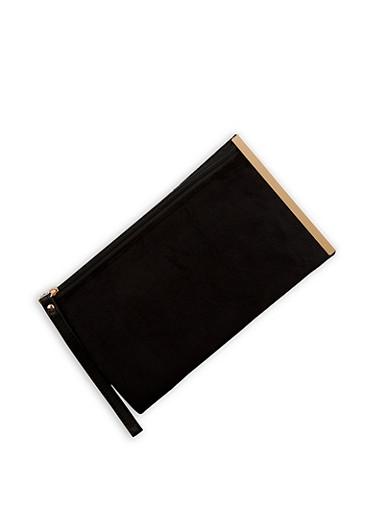 Velvet Clutch with Wrist Strap,BLACK,large