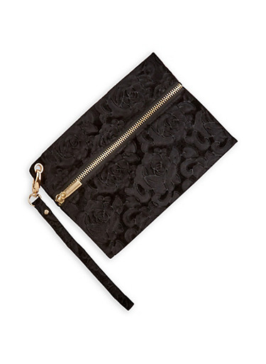 Floral Velvet Zipper Wristlet,BLACK,large