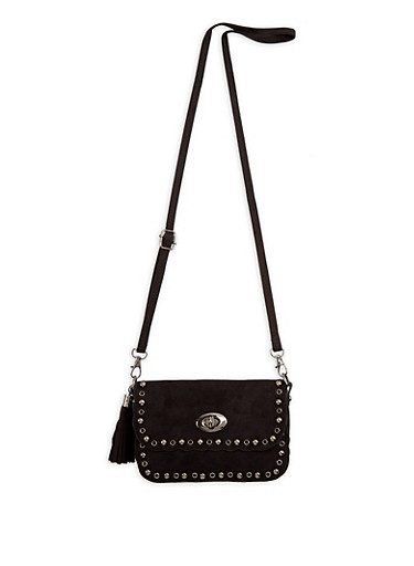 Mini Faux Suede Studded Tassel Bag,BLACK,large