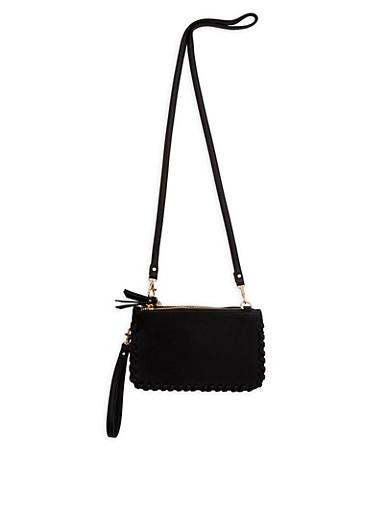 Faux Leather Stitched Edge Crossbody Bag,BLACK,large