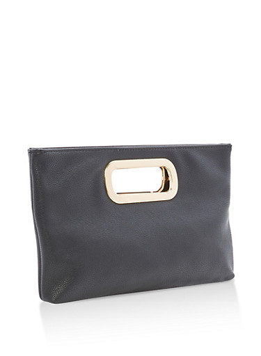 Faux Leather Clutch with Metal Handles,BLACK,large