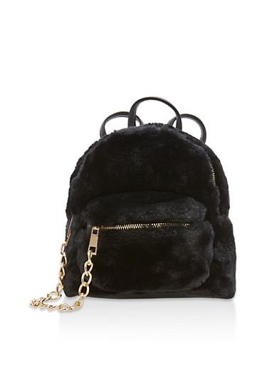 Mini Faux Fur Backpack,BLACK,large