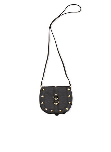 Studded Crossbody Bag in Faux Leather,BLACK,large