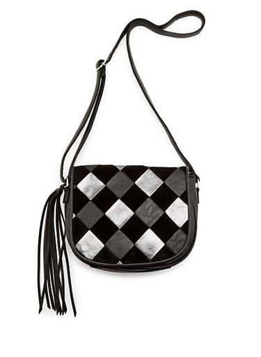 Crossbody Bag with Basketweave Flap,BLACK,large