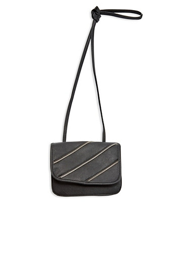 Faux Leather Crossbody Bag with Zipper Accents,BLACK,large