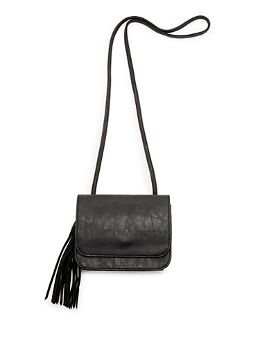 Faux Leather Crossbody Bag with Tassel Accent,BLACK,large