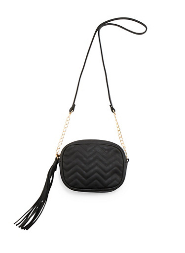 Crossbody Bag with Chevron Quilting,BLACK,large