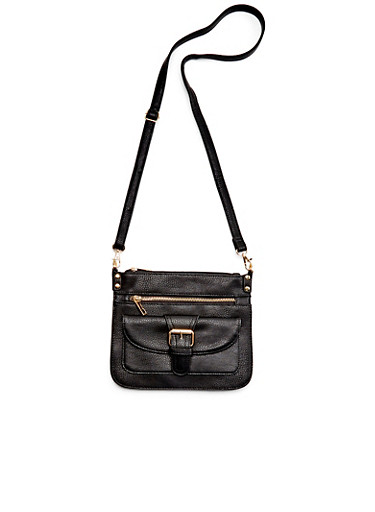 Crossbody Bag in Faux Leather,BLACK,large