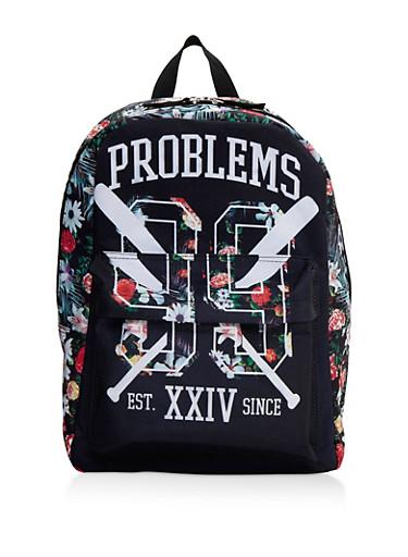 99 Problems Graphic Floral Backpack,BLACK,large