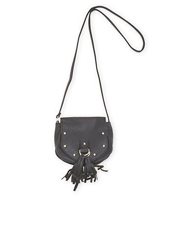 Faux Leather Studded Crossbody Bag with Tassels,BLACK,large