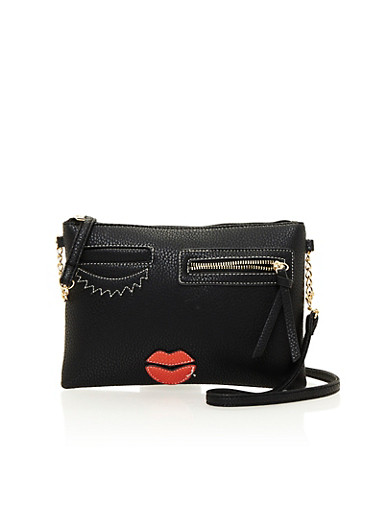 Faux Leather Shoulder Bag with Face Design,BLACK,large