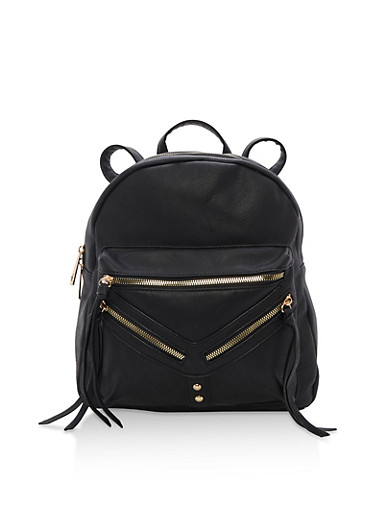 Faux Leather Backpack,BLACK,large