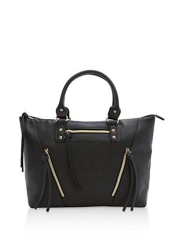 Faux Saffiano Multi Zip Tote Bag,BLACK,large