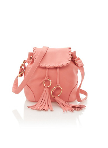 Faux Leather Crossbody Bag with Metal Ring Tassels,ROSE,large