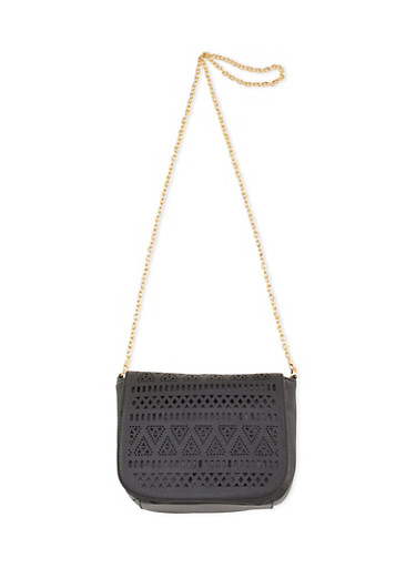 Lasercut Faux Leather Crossbody Saddle Bag,BLACK,large