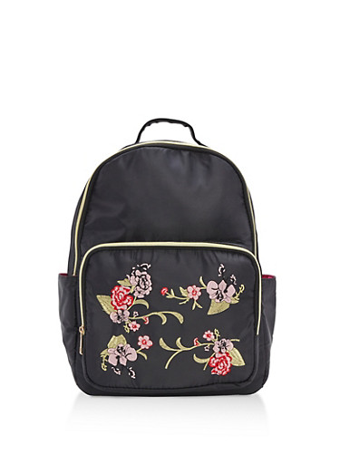 Floral Embroidered Nylon Backpack,BLACK,large