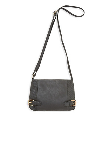 Faux Leather Crossbody Bag with Embossed Woven Design,BLACK,large