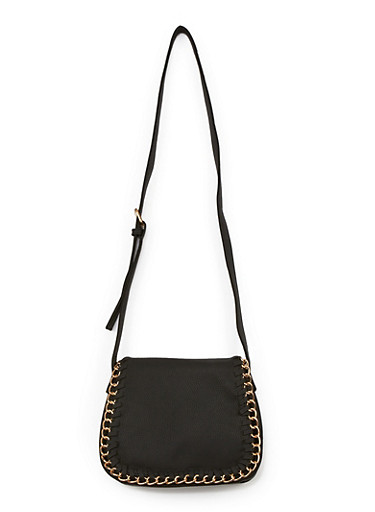Faux Leather Chain Saddle Bag,BLACK/GOLD,large