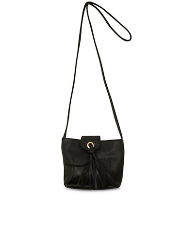 Faux Leather Crossbody Bag with Tassel,BLACK,large