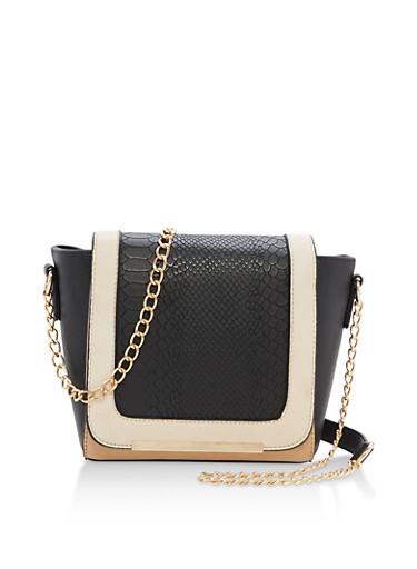 Faux Leather Color Block Shoulder Bag,BLACK/NEUTRALS,large